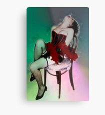 Young sexy woman in corset and fishnet stockings  Metal Print
