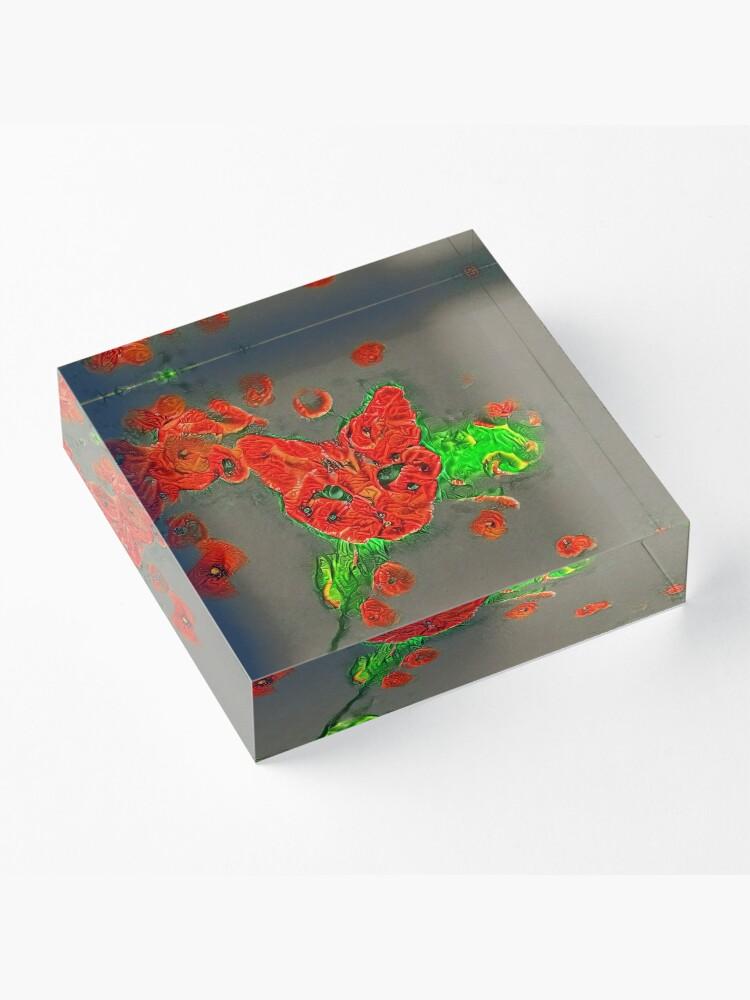 Alternate view of Ninja cat hiding in poppies #Art Acrylic Block