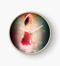 Young sexy woman in a red corset wearing Santa hat on white background Clock