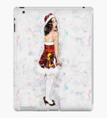 Young sexy woman in a red corset wearing Santa hat on white background iPad Case/Skin