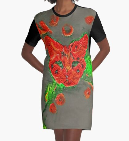 Ninja cat hiding in poppies #Art Graphic T-Shirt Dress