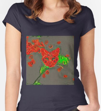 Ninja cat hiding in poppies #Art Fitted Scoop T-Shirt