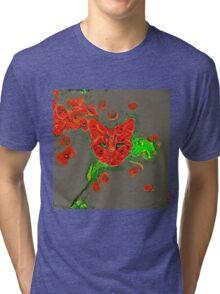 Ninja cat hiding in poppies #Art Tri-blend T-Shirt