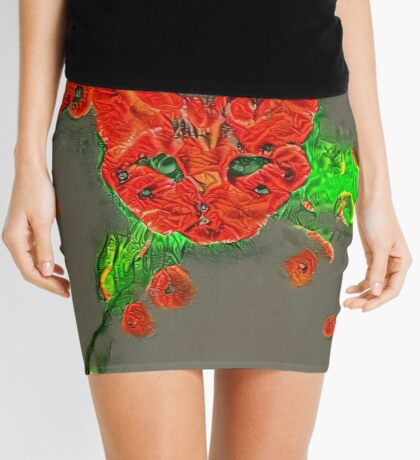 Ninja cat hiding in poppies #Art Mini Skirt