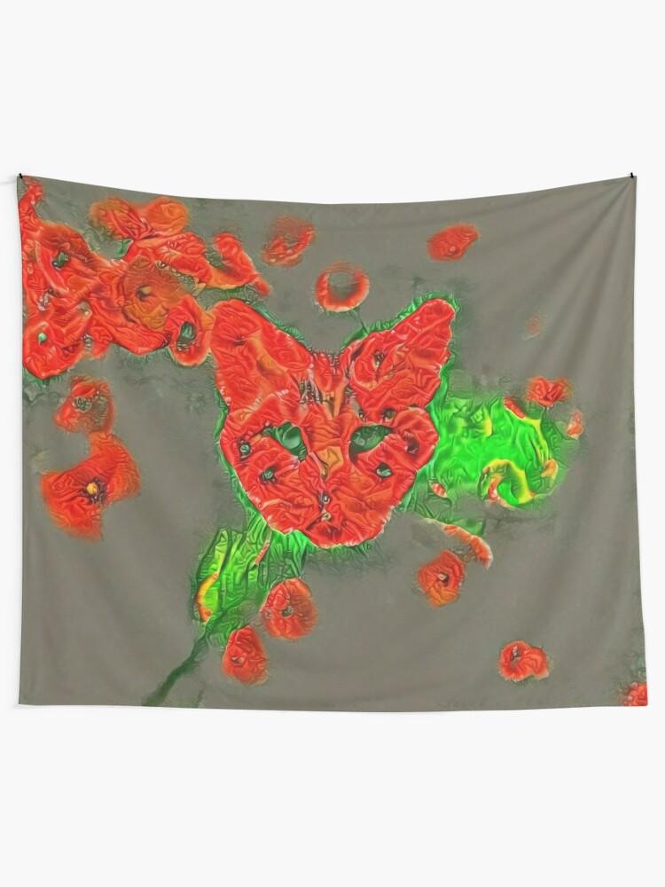 Alternate view of Ninja cat hiding in poppies #Art Tapestry