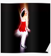 Young sexy woman in a red corset wearing Santa hat on white background Poster