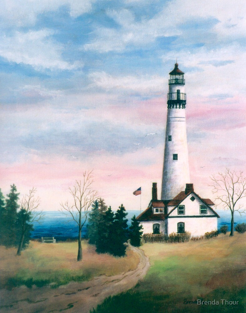 Wind Point Light by Brenda Thour