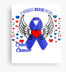 I wear blue for colon cancer awereness shirt Metal Print