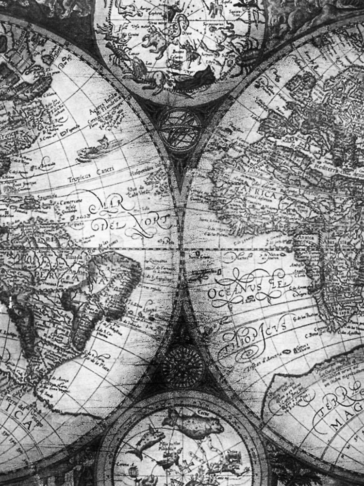 World map antique vintage black and white globe astrology star maps world map antique vintage black and white globe astrology star maps by naturemagick gumiabroncs Images