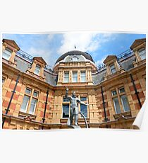 Yuri Gagarin statue waving in front of Royal Observatory greenwich Poster