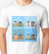 European City Urban Landscape with Vintage Houses and Trees in Four Seasons T-Shirt