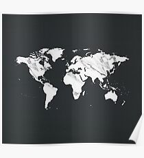 Marble World Map in Black and White Marbled Wood Map Tapestry Poster