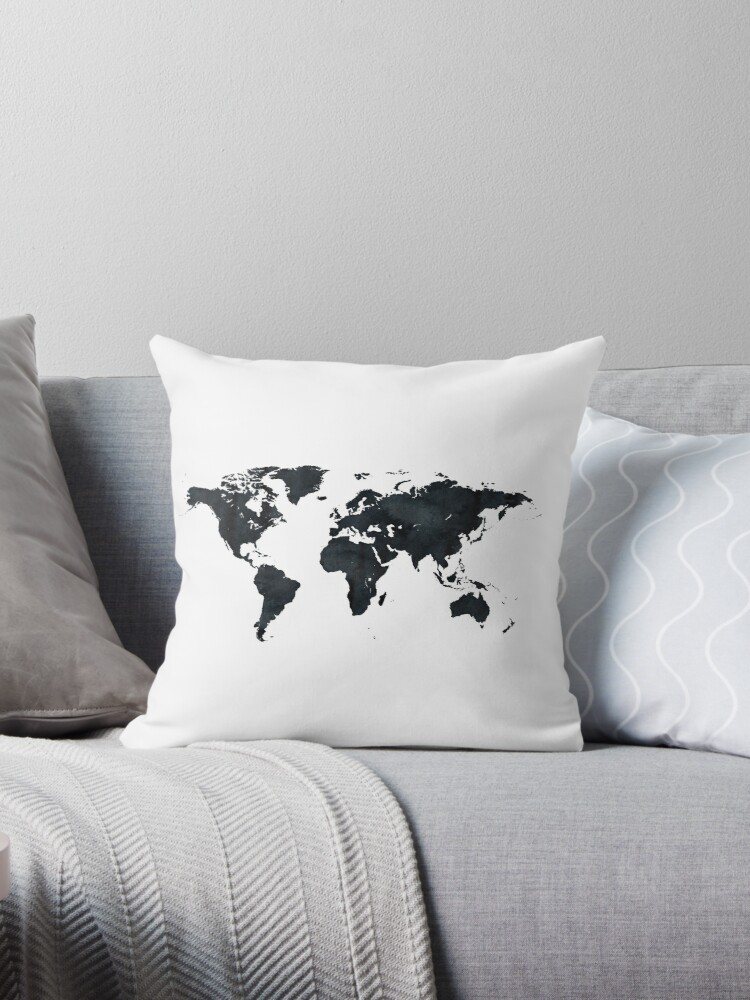 World map in black and white ink on paper globe map tapestry throw world map in black and white ink on paper globe map tapestry gumiabroncs Image collections