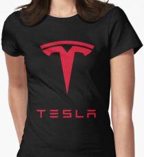 Tesla Car Logo Womens Fitted T-Shirt