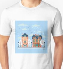 European City Urban Landscape with Vintage Houses and Trees in Winter T-Shirt