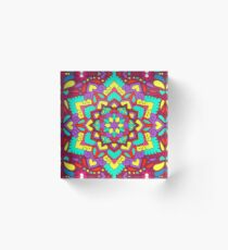 Rainbow Swirling Leaf Flower Henna Mandala Acrylic Block