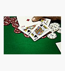 Showing cards green table copyspace Photographic Print