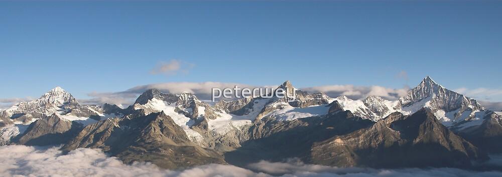 Mountain range above Zermatt in the morning. by peterwey