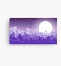 Forest landscape scenery with wolf on the moonlight. Canvas Print
