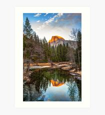 Reflecting Yosemite Half Dome Skies Art Print