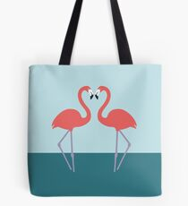 Pink flamingos in love - blue and green background Tote Bag