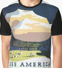 Vintage Travel Poster - See America, Welcome to Montana (1937) Graphic T-Shirt
