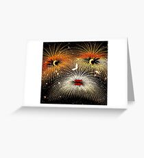 Facetious Fireworks Gold Greeting Card