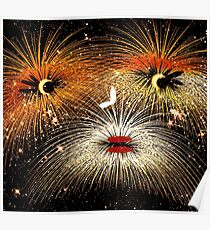 Facetious Fireworks Gold Poster