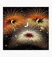 Facetious Fireworks Gold Photographic Print