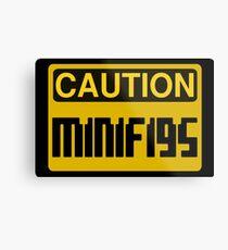 Caution Minifigs Sign Metal Print
