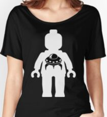 Minifig with Space Invader UFO Logo, Customize My Minifig Women's Relaxed Fit T-Shirt