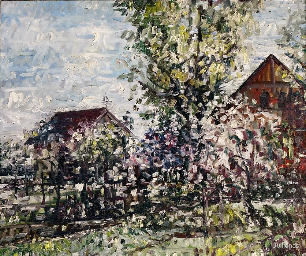 Pjauku sodo medziai (The tree of garden in the village Pjaulai) by Julijonas