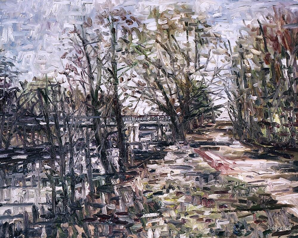 Kliosiu tiltas pavasari (The bridge of Kliosiai in spring) by Julijonas