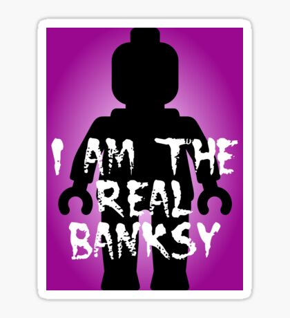 """Black Minifig with """"I am the Real Banksy"""" slogan, Customize My Minifig Sticker"""