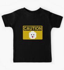 Caution Rude Minifig Head Sign Kids Tee