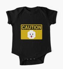 Caution Rude Minifig Head Sign One Piece - Short Sleeve