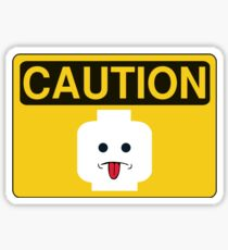 Caution Rude Minifig Head Sign Sticker