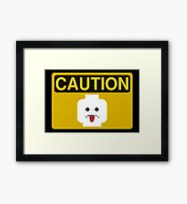 Caution Rude Minifig Head Sign Framed Print