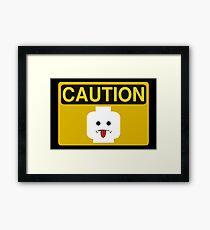 Caution Rude Minifig Head Sign Framed Print