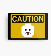 Caution Rude Minifig Head Sign Metal Print