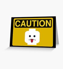 Caution Rude Minifig Head Sign Greeting Card