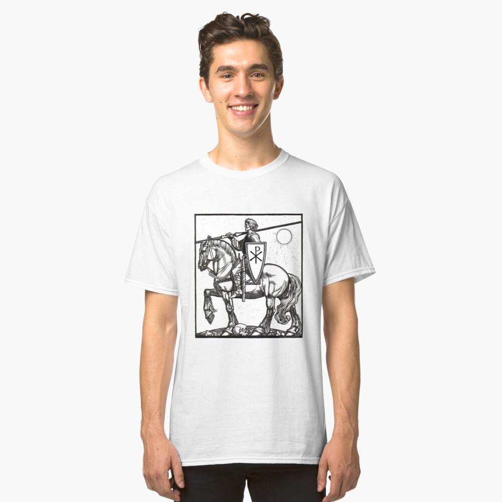 Crusader Knight with Chi-Ro Shield Classic T-Shirt