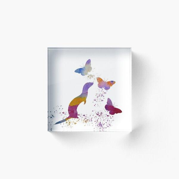 Ferret and butterflies Acrylic Block