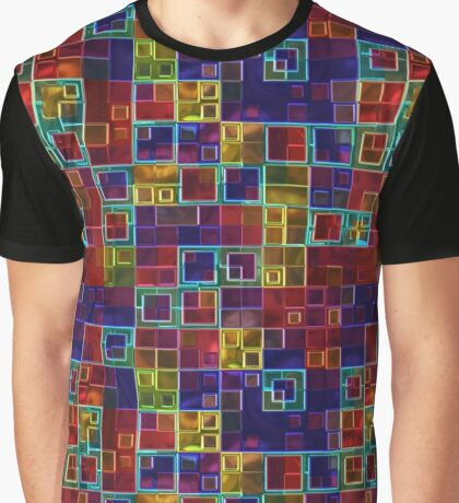 Shiny Futuristic  Squares Graphic T-Shirt