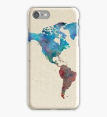 World Map Watercolor Linen Cotton Texture Blue Red Yellow Green iPhone Case/Skin