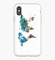 World Map Watercolor Blue Red Yellow Green iPhone Case
