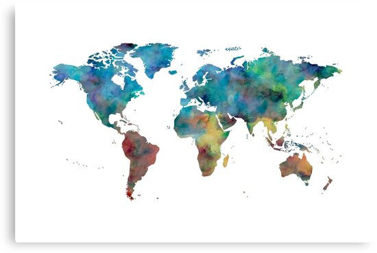 World map watercolor blue red yellow green canvas prints by world map watercolor blue red yellow green by naturemagick gumiabroncs Images