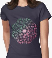 Ombre Roses Mandala Womens Fitted T-Shirt