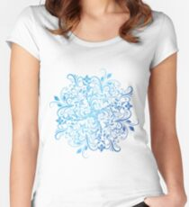 Swirly mandala with blue gradient Women's Fitted Scoop T-Shirt