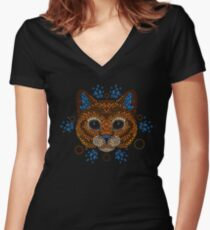 Cat Face Women's Fitted V-Neck T-Shirt